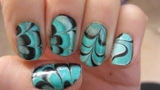 Water Marble Nail Art Tutorial For Short Nails קישוטי ציפורניים לק במים